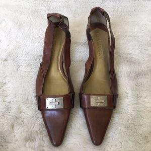 Givenchy Brown Leather Kitty Heel Shoes Size 6 1/2